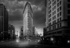 """""""Black and White Cities"""" by Jean-Michel Berts - Argentic print on aluminium #skyscraper #photography"""