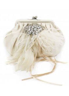 Champagne Satin Crystal & Feather Clutch :)
