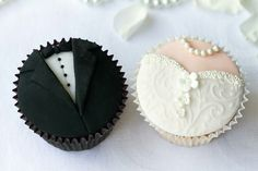 cute wedding idea. tux and gown cupcakes