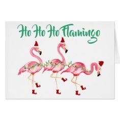 Ho Ho Ho Santa Flamingos Beach Holiday Card - merry christmas diy xmas present gift idea family holidays Coastal Christmas, Pink Christmas, Christmas Signs, All Things Christmas, Christmas Cards, Tropical Christmas, Christmas Decor, Christmas Ideas, Diy Holiday Gifts
