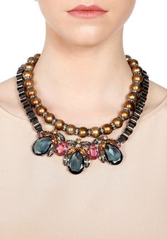 Mawi | Hire Teardrop crystal and pearl necklace at WishWantWear