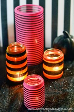 Striped Tights Jar Votives - so cute! I'm a sucker for stripes! I think this could be great for any holiday. Mason Jar Crafts, Mason Jars, Glass Jars, Easy Crafts, Diy And Crafts, Diy Candle Holders, Diy Candles, Striped Tights, Altered Bottles
