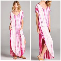 New Arrival • Fuschia Tye dye maxi dress Beautiful Fuschia Tye dye side slit maxi dress . Hand dyed made in USA please allow for slight variation in dye process color . Super soft oversized slouchy fit and purposefully done so . Other prints and colors throughout my closet . S ( 2-8 ) M ( 8-12) L (12-16) Dresses
