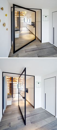 These Large Pivoting Doors Are Designed To Revolve This glass pivot door has a unique central pivoting hinge that allows it to swing in both directions, enabling the doors to revolve up to The Doors, Windows And Doors, Home Interior Design, Interior And Exterior, Interior Doors, Home Theather, Architecture Design, Sliding Door Design, Pivot Doors