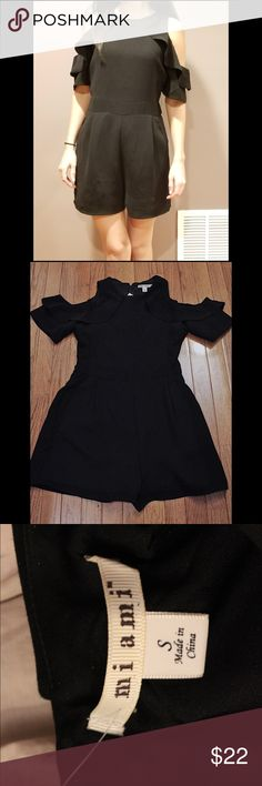 Black Cold Shoulder Ruffled Romper Brand new, unworn romper in excellent condition. Runs true to size and very comfortable. Tighter on top than on the bottom. Francesca's Collections Pants Jumpsuits & Rompers