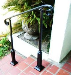 6 FT Wrought Iron Handrail Step rail Stair rail with Decorative Posts Made in the USA Stair Railing Ideas Decorative Handrail iron POSTS Rail stair Step USA Wrought Porch Handrails, Outdoor Stair Railing, Front Porch Railings, Iron Handrails, Deck Stairs, Front Porches, Metal Balusters, Balcony Railing, Wood Stairs