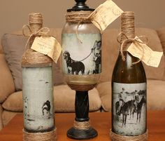 Photo Bottles - Really cool craft idea to use up old wine bottles - #Glass #Craft and #Ideas - Click Pic for 20 Ideas