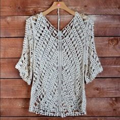 Crochet top Cream crochet style stop. Can Layer over any color tank top giving you a lots of looks Leshop Tops Blouses