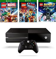 The Xbox One 500GB Refurbished Blast From the Past System Bundle contains: Xbox One 500GB Console Only - Black (Pre-Owned Refurbished), LEGO Marvel Super Heroes, LEGO Movie Videogame, and LEGO Batman 3: Beyond Gotham Pre-Owned Games for the Xbox One.