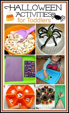 Halloween activities for toddlers and preschoolers. Fine motor work, game, and themed treat.