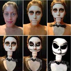 Nightmare Before Christmas makeup. I don't like the mouth position. she can't talk at all or it will be from the neck of the costume
