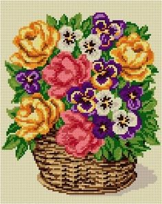 goblen ariadna - my site Beaded Cross Stitch, Cross Stitch Flowers, Cross Stitch Pattern Maker, Cross Stitch Patterns, Crewel Embroidery, Cross Stitch Embroidery, Diy Recycling, Flower Canvas, Needlepoint Kits