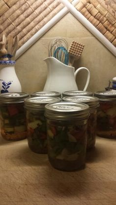 Sweet Pickles , Peppers and Onions from our Straw Bale Garden 2013. Just in time for Thanksgiving with the family.