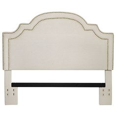 Stone Masters Basler Really like the shape on this one. Linen Nailhead Full/Queen Headboard at Big Lots. Nailhead Headboard, Queen Size Headboard, Modern Headboard, Headboard Decor, Diy Headboards, Nailhead Trim, Upholstered Headboards, 2nd Hand Furniture, Parisian Bedroom