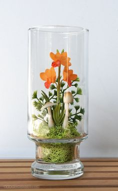 Mini Orange Orchid Woodland Terrarium by Miss Moss