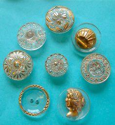 8 Vintage Transparent Glass Buttons, Gold/Silver Trims, Cameo, Art Deco, Floral