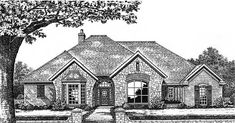 European Style House Plans - 2715 Square Foot Home , 1 Story, 4 Bedroom and 2 Bath, 2 Garage Stalls by Monster House Plans - Plan 8-664