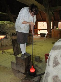 Glass blowing demonstration at the reconstructed Glasshouse at Jamestown, Virginia