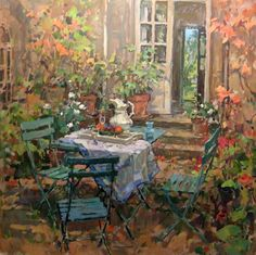 "Susan Ryder (Born, 1944 in England)  ""The terrace, Coudray"""