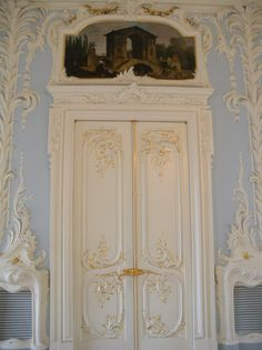 French door ~ French detail ~ White door with scrolling