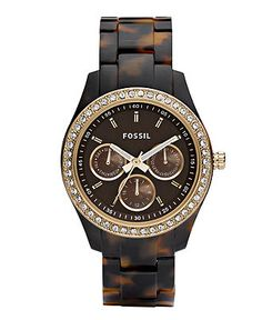 Fossil Watch, Women's Stella Tortoise Resin Bracelet 37mm ES2795 - All Watches - Jewelry & Watches - Macy's
