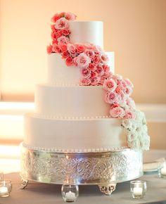 A Pink Ombre Cascade Cake | Caroline Tran Photographer | Blog.TheKnot.com