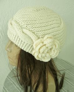 Hand  Knit  Hat   Womens hat with flower    Cloche hat   by Ebruk, $40.00