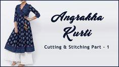 Stylish Angrakha Kurti | Angrakha Kurti Cutting & Stitching - YouTube Sewing Tutorials, Sewing Projects, Free Tutorials, Diy Dress, Dress Outfits, Dresses, Animal Crossing Qr Codes Clothes, Free Sewing, Kurti