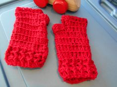 Red Glittered Crocheted Fingerless Gloves made with glittered acrylic yarn. Hand wash and lay flat to dry. Can be matched with Red Glittered Rope