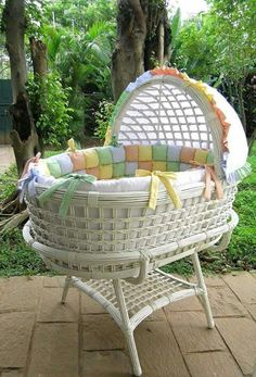 "A bassinet, bassinette, or cradle is a bed specifically for babies from birth to about four months, and small enough to provide a ""cocoon"" that small babies find comforting. Baby Dolls, Baby Doll Bed, Doll Beds, Baby Bassinet, Baby Cribs, Childrens Room Decor, Baby Room Decor, Baby Carrying, Prams And Pushchairs"