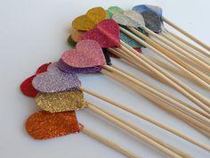 Glittered Heart Cake Toppers. $20.00, via Etsy.