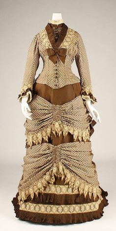 Dress  1873-1879  The Metropolitan Museum of Art  Thats just too much on one dress, beautiful details tough.