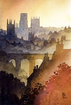 Durham from Western Hill, Watercolour, by Ian Scott Massie: