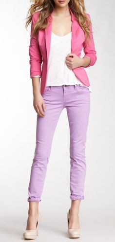Vigoss Violet Skinny Jagger Jean,  love the lilac skinny jeans here with a blazer. It says feminine and professional to me without being too Easter-egg pastel.