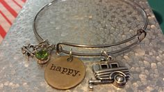 Happy Camper adjustable charm Bracelet by AdelaidsCreations on Etsy