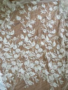 French Bridal Lace Fabric Floral Embroidered Lace by lacetime