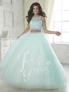 Fiesta Gowns 56317. This two piece style has a lace appliqu� bodice and beaded waistband. Sparkle tulle ball gown skirt has a matching beaded waist. Buttons and center zipper back.  #azaria #azariabridal #prom #quinceañera #fashion #love #lightgreen #likeforlike #followforfollow #heartforheart #ideal #promgoals #celebration #event #party #ballgown #princess #queen #dazzling #wow #achieve #sweetsixteen #eighteen #debut #perfect #fairytale