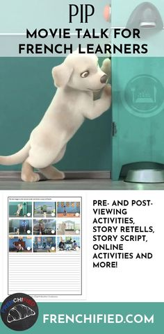 Pip wants to be a guide dog but he's too small. Can he overcome his lack of size and be the hero he dreams of being? Find out in this movie talk for French learners. French Articles, French Resources, French Conversation, French Songs, French Films, High School French, French Flashcards, Story Retell, Movie Talk