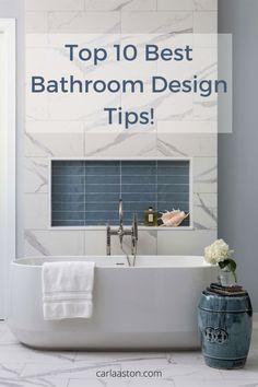 Top 10 Best Bathroom Design Tips! carlaaston.com Best Bathroom Designs, Bathroom Ideas, Bath Ideas, Guest Bathrooms, Master Bathroom, Bathroom Dimensions, Basement Living Rooms, Jack And Jill Bathroom, Interior Design Tips
