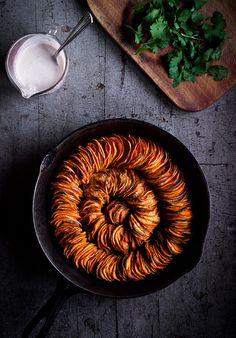 crispy sweet potato roast with herbed coconut crème fraîche.