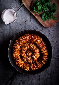 crispy sweet potato roast with herbed coconut crème fraîche.