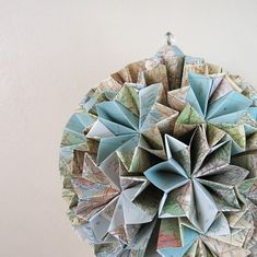 very cool recycled map origami globe