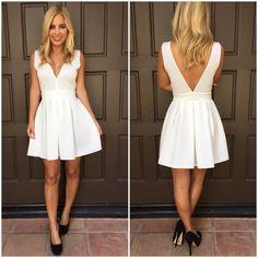 Deep V Tea & Crumpets Dress - WHITE