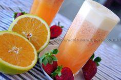 Suco de Laranja com Morango   Receitas e Temperos