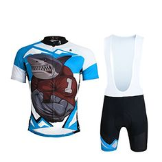 68453b831 Paladin Cycling Shirts Bibs Set Short Sleeve Angry Shark Pattern Bike  Jerseys for Men Size XXXXL
