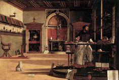 """Vittore Carpaccio, """"Vision of St Augustin"""", 1502, Scuola di San Giorgio degli Schiavoni, Venice."""