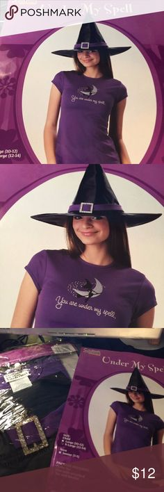 Under My Spell top Witch Girls L o XL costume hat Brand new in package  Halloween costume  under my spell chose girls size L 10-12                                                                  girls size Xtra Large  size 12-14 girls or kids  casual costume  you can wear with jeans    Costume contains  purple crop t shirt that reads you are under my spell and witch hat California Costumes Costumes Halloween