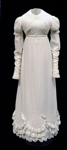 Muslin Day Dress with White-Work Embroidery. Probably Scottish, c. 1817.