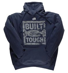 Ford Hoodie BUILT FORD TOUGH Officially Licensed Vintage Look Hooded Sweatshirt  Navy XXLarge ** Read more  at the image link. (This is an Amazon affiliate link and I receive a commission for the sales and I receive a commission for the sales)