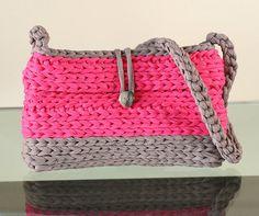 Crochet XXL  Bolso bicolores en trapillo por Gnolo en Etsy